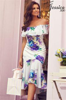 Jessica Wright Floral Print Frilled Bardot Midi Dress