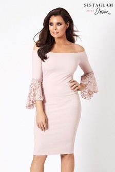 Jessica Wright Off The Shoulder Midi Bodycon Dress With Lace Sleeve