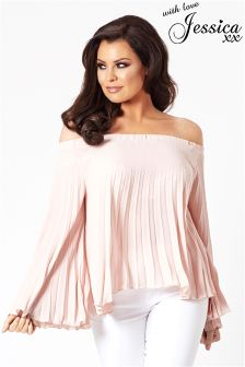 Jessica Wright Off The Shoulder Pleat Blouse