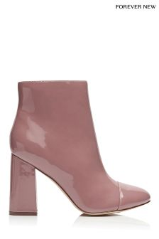 Forever New Patent Block Heel Ankle Boots