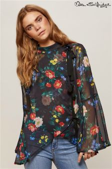 Miss Selfridge Floral 3 Bow High Neck Blouse