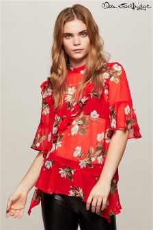 Miss Selfridge Print Ruffle Blouse