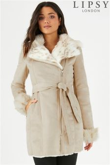 Lipsy Faux Fur Belted Bonded Coat