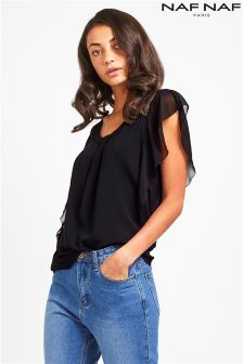 Naf Naf Ruffle Side Blouse
