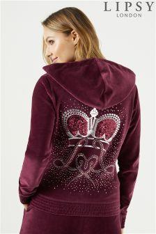 Lipsy Crown Sheering Detail Velour Hoody
