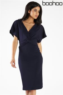 Boohoo Twist Front V neck Midi Dress