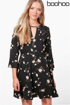 Boohoo Floral Ruffle Tie Back Skater Dress
