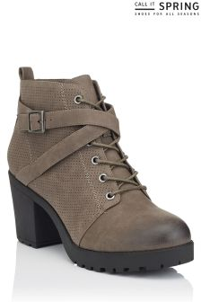 Call It Spring Ladies Lace Up Lug Sole Bootie