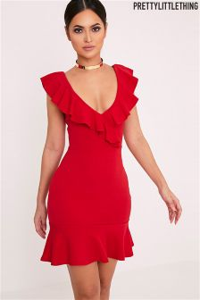 PrettyLittleThing Frill Detail Bodycon Dress