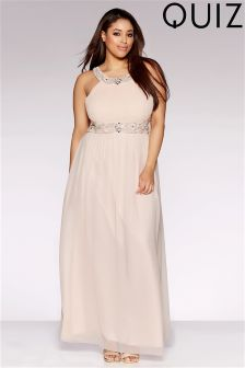 Quiz Curve High Neck Embellished Maxi Dress