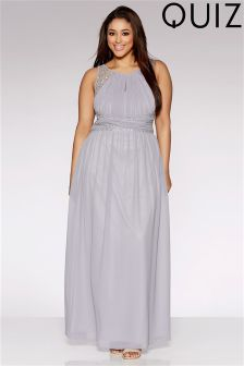 Quiz Curve Embellished Waist Maxi Dress