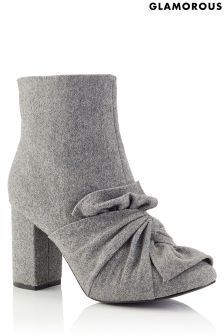 Glamorous Wool Bow Ankle Boots