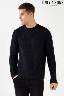Sweter Only & Sons z okrągłym dekoltem i waflowym splotem