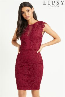 Lipsy Lace Frill Sleeve Lace Bodycon Dress