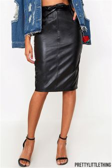 PrettyLittleThing Leather Look Pencil Skirt