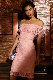 Lipsy All Over Lace Bardot Dress