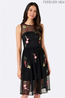 Forever New Embroidered Mesh Dress