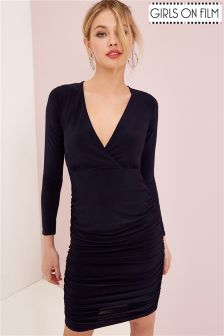 Girls On Film Ruched Bodycon Dress