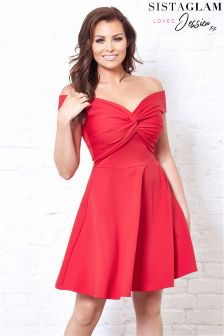 Jessica Wright Knot Front Bardot Skater Dress