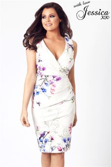 Jessica Wright Pleated Floral Midi Dress