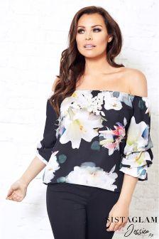 Jessica Wright Satin Floral Bardot Volume Sleeve Top