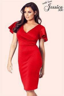 Jessica Wright Frill Sleeve Wrap Midi Dress