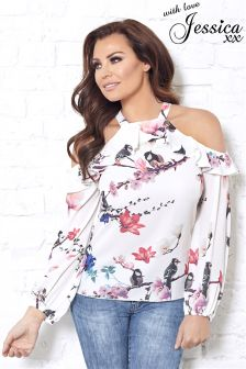 Jessica Wright Cold Shoulder Long Sleeve Print Blouse