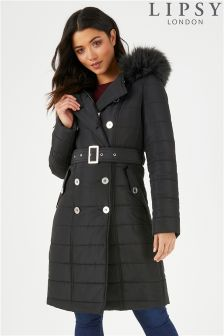 Lipsy Double Breasted Belted Long Padded Mac