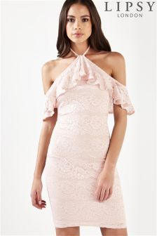 Lipsy Lurex Lace Halterneck Bodycon Dress