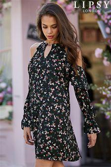 Lipsy Floral Print Cold Shoulder Dress
