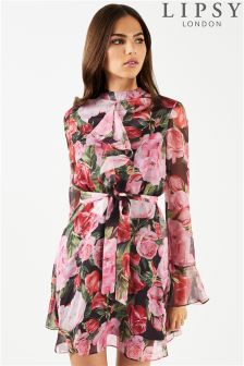 Lipsy Floral Printed High Neck Ruffle Dress