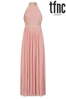 Zdobiona sukienka maxi tfnc z wysokim karczkiem