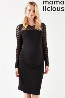 Mamalicious Maternity Long Sleeve Lace Midi Dress