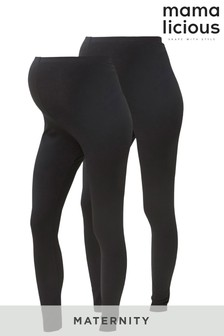 Mamalicious Maternity 2 Pack Over The Bump Leggings