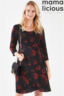 Mamalicious Maternity Long Sleeve Floral Jersey Dress