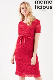 Mamalicious Maternity Short Sleeve Lace Midi Dress