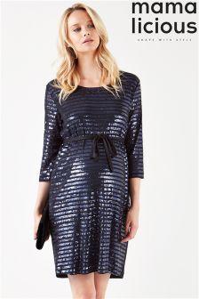 Mamalicious Maternity Sequin Jersey Dress