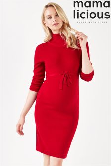 Mamalicous Maternity Long Sleeve Knitted Roll Neck Dress