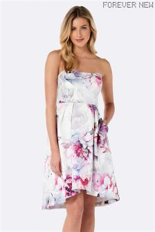 Forever New Printed Strapless Prom Dress