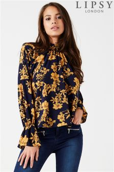 Lipsy Floral Printed High Neck Blouse