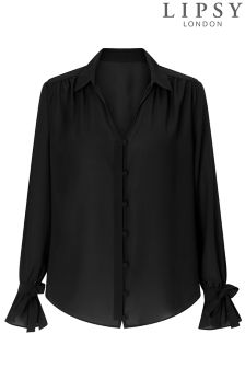 Lipsy Covered Button Tie Sleeve Shirt