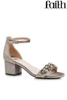Faith Low Block Heel Bling Sandals