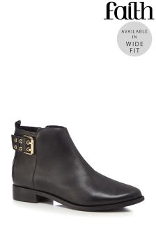 Faith Buckle Detail Wide Fit Boots