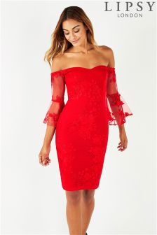 Lipsy All Over Embroidered Bardot Bodycon Dress