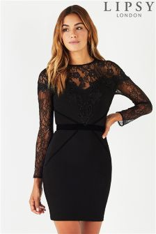 Lipsy Lace Artwork Bodycon Dress