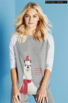Noisy May Long Sleeve Printed Christmas Pyjama Top