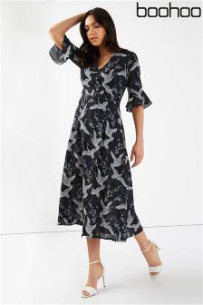 Boohoo Wrap Over Midi Dress