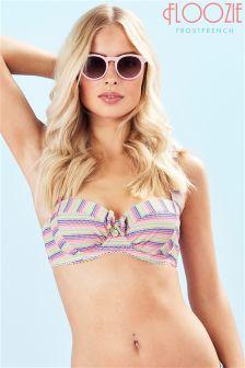 Floozie Rainbow Stripe Underwired Halter Neck Bikini Top