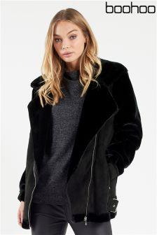 Boohoo Faux Fur Sleeve Aviator Jacket