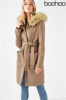 Boohoo Belted Faux Fur Trim Hood Coat